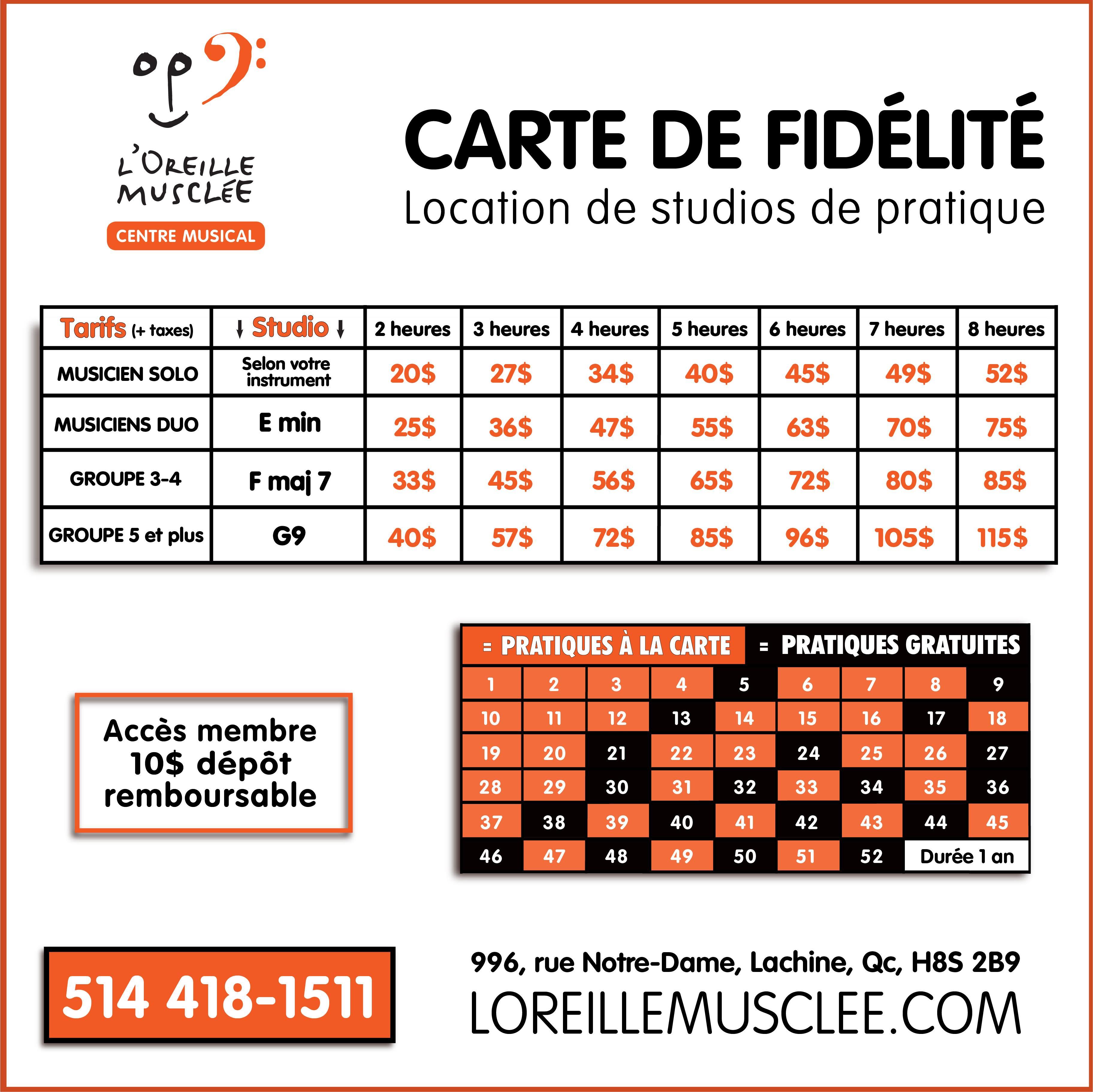 Carte fidélité location de studios pour les musiciens à Lachine